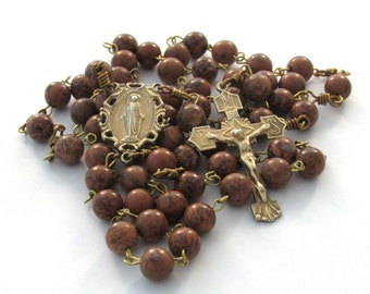 Chrysanthemum Stone Gemstone Catholic Handmade Rosary Gold Plate over Bronze Crucifix and Miraculous Medal