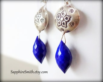 ROYAL BLUE Lapis Lazuli Gemstone Earrings, Wire Wrapped Briolette & Hill Tribe Thai Fine Silver Earrings