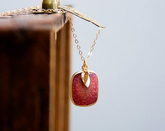 Leaves Red Druzy Necklace Ruby Druzy Pendant Tiny Leaf Necklace Drusy Jewelry - N309