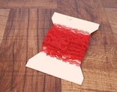 """One yard red lace, 1.25"""" wide red lace trim, bright red lace"""