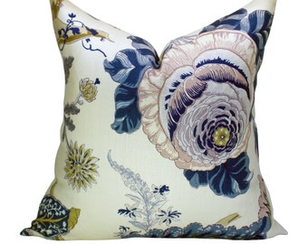 Schumacher Indian Arbre pillow cover in Hyacinth