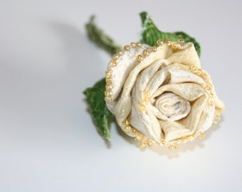 Corsage White Rose, Fiber Art Flower, Golden Cream Rose for Golden Anniversary, Eco Friendly Wedding, Prom Corsage, Fabric Flower Pin Brooch