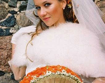 Fan Bridal Bouquet Of Silk Flowers