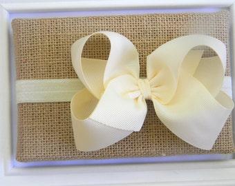 Ivory Bow Headband - Ivory Bow - Cream Bow Headband - Ivory Boutique Bow Headband