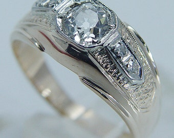 Vintage 14K Yellow Gold .65ct Old European cut Diamond Band Ring Jewelry