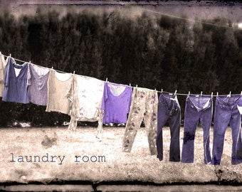 Vintage Clothesline LAUNDRY ROOM ART Original Wall Art Photography on Canvas Stretched Wrapped and Ready to Hang