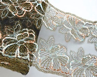 Gold Sparkly Lace Trim, Gold and Black Lace, Metalic Gold Embroidered Trim, Lingerie, Couture Sewing, Textile Art, Couture Lace