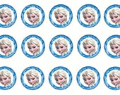 "1"" FROZEN Elsa Bottle Cap Image Sheets Party Favors Cupcake Topper Magnet Stickers Printables Bottlecap Instant Download."
