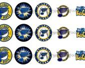 "1"" St. Louis Blues Hockey Bottle Cap Image Sheets Party Favors Cupcake Topper Magnet Stickers Printables Bottlecap Instant Download."