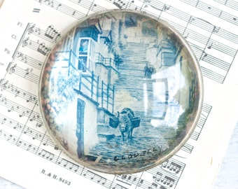 Vintage Glass Paperweight in Blue - Donkey Picture - Souvenir from clovelly England