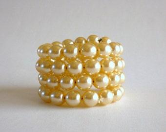 Faux Pearl Bracelet, Memory Wire Pearl Bracelet