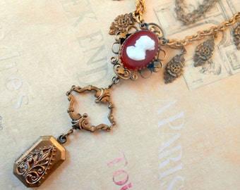 Victorian Cameo Necklace, Assemblage, Carnelian, Edwardian Locket, Watch Fob, Vintage Repurposed, Upcycled, Recycled, Victorian Bracelet