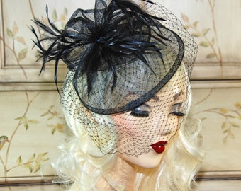 Black Kentucky Derby Hat - Black Fascinator Hat with Birdcage Veil - Black Wedding Fascinator Hat - Tea Party Hat - Church Hat