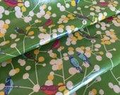 Echino Collection- LAMINATED Cherry Birds in Green by Etsuko Furuya for Kokka (HALF yard LAMINATED)