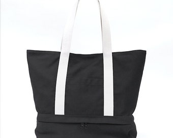 MEGA // Black / Lined with Beige / 120 // Ship in 3 days // Beach bag / Diaper bag / Sport bag / Tote bag / Market bag /