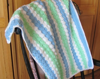 Baby afghan 30 x 36 Blue, Green & White