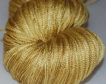 Mulberry silk lace (2ply ,) yarn 100g.(3,5 oz) handdyed -Gold of the Aztecs