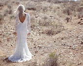 "Vintage Inspired Wedding Dress, Backless, Crochet Lace, Ivory, Cream, White Long Sleeve, Bohemian Low Back - ""Lola"""