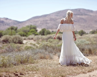 "Bohemian Wedding Dress, Cream Bridal Gown, Off The Shoulder Wedding Dress, Lace Ruffle Bridal Dress, Embroidered Gown - ""Lu"""
