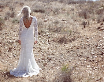 "Vintage Inspired Wedding Dress, Low Back Gown, Crochet Lace Dress, White Long Sleeve Wedding Dress, Bohemian Low Back Bridal Gown - ""Lola"""