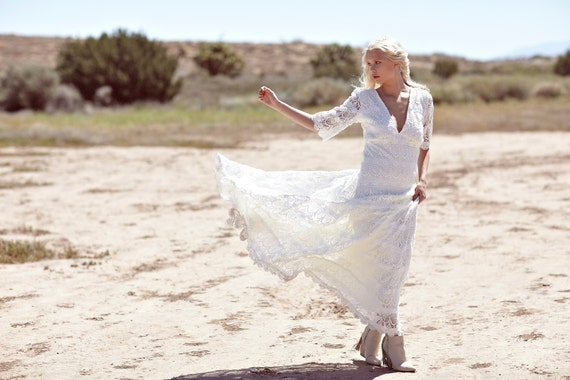 """Vintage Inspired Wedding Dress, White Crochet Lace Wedding Gown, Bohemian Hippie Bridal Gown - """"Willow"""""""