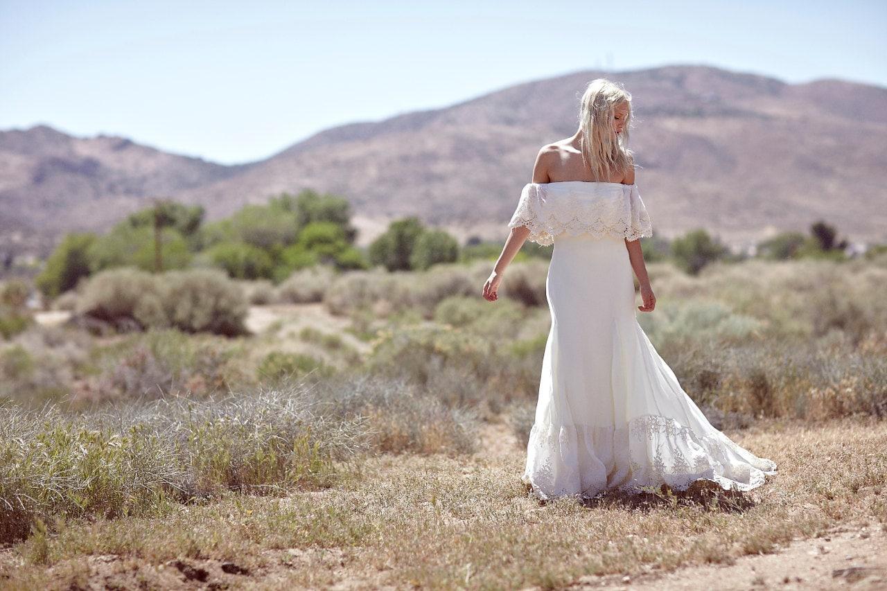 Bohemian Wedding Dress Cream Bridal Gown f The Shoulder