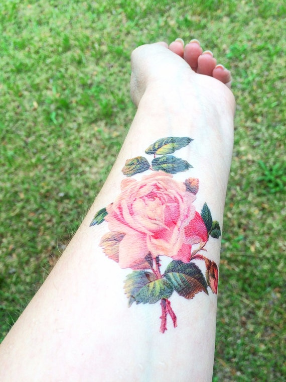 Rose tattoo vintage floral temporary tattoo by symbolicimports for Vintage floral tattoo
