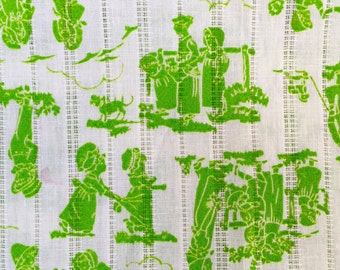 Vintage, 1970s nursery, fat quarter, vintage fabric, quilting, nursery rhyme, silhouette, lime green