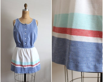 1980s Beach Dress / Cover up / Stripes Dress/ Nautical/ Pin up / Size S/M
