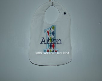 Personalized White  Bib with Argyle print number