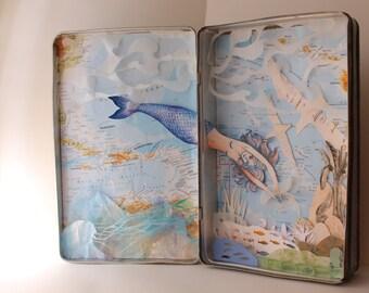 A magic mermaid in a vintage box. Express Free shipping Handmade paper cutting. Sea diorama papercuts, paper art shadow box paper sculpture