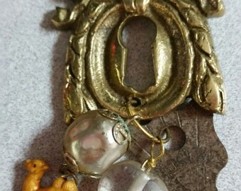 Recycled Vintage Key and Escutcheon Necklace