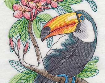 Tropical Toucan Embroidered Flour Sack Hand/Dish Towel