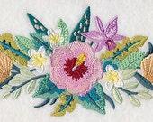 Tropical Light Hibiscus Seashell Scene Border Embroidered Flour Sack Hand/Dish Towel
