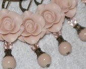 Rose Dangle Earrings - Victorian Pink Rose Earrings