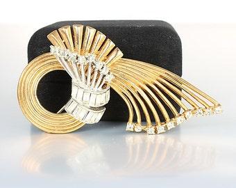 Coro Pegasus Spray Brooch, Silver Gold Ribbon Baguette Rhinestone Brooch, 1950s jewelry