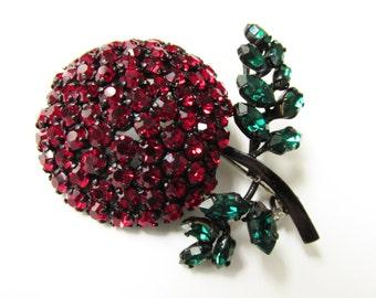 Vintage Ruby Red Rhinestone Japanned Flower Brooch Jewelry