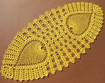 """Yellow  crochet doily, oval doily, oval lace doily, oval lace topper, green tablecloth, centerpiece, runner, 22""""x 12"""""""