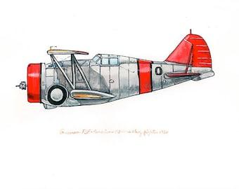 Grumman F3F vintage airplane watercolor print 8x10