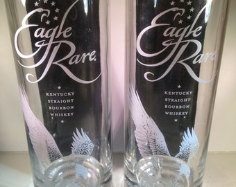 Eagle Rare Whiskey Recycled Bottle Glasses - Set of 2