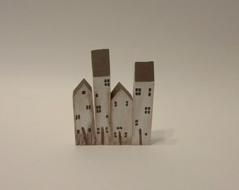 Miniature Wood Houses In Antiqued White ~ Rustic Primitive Appeal ~ Home Decor