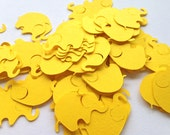 100 Bright Yellow Elephant Confetti Die Cut Cutout Punch Embellishment Scrapbook