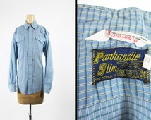 Vintage 60s Blue Plaid Western Shirt Panhandle Slim Gingham Check Pearl Snaps - Medium