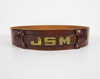 Vintage 70s Monogrammed Belt JSM Leather Hook Closure Women's Belt