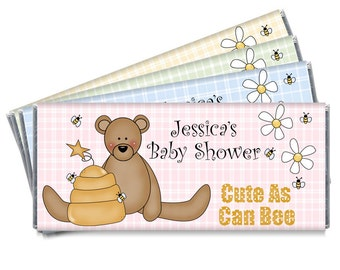 Teddy Bear Baby Shower Candy Bar Wrappers - Cute As Can Bee  - Teddy Bear Baby Shower Favors