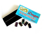 Vintage Halsam Dragon Dominoes Double Nine with Colored Dots 920-R