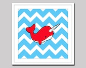 Narwhal Art Print - with Colorful Chevron - Whale - Ocean - Sea - Children's - Nursery - Decor