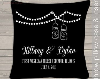 wedding pillow unique- wedding shower gift pillow - personalized with couples names, location and dates mason jars