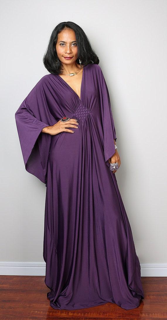 Dark Purple Maxi Dress Kaftan Kimono Butterfly Dress: Funky