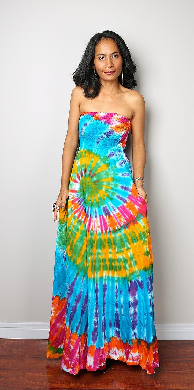 rainbow dress tie dye dress boho hippie funky smocked maxi
